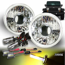 "FOR JAP CAR! 7"" H6014 H6017 H6024 CLEAR PROJECTOR HEADLIGHTS H4 HID 3000K KIT"