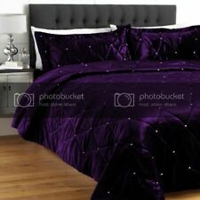 5 PC Twin Purple Crystal Quilted VelvetBed Spread Set Stone Design