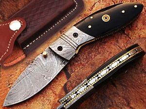 Damascus Black Buffalo Horn Handle Straight Folding Liner lock Pocket Knife