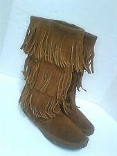 Minnetonka Womens Calf High Triple Fringe Boot 8 Brown Suede Boho Hippy Festival