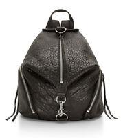 NWT REBECCA MINKOFF Julian Backpack 100% Leather Buckle Silver Black HS16EBLB01
