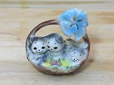 "RARE Early JOSEF ORIGINALS CALIFORNIA Figurine KITTENS in a Basket  ""WEE THREE"""