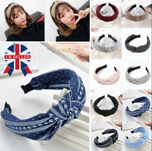 Women Soft Headband Alice Band Top Knot Fashion plain Headband Twist Hairband S