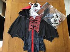 Halloween Dracula fancy dress costume with mask & flashing broach age 9-10 years