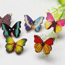 B7 50x Mixed Sewing Butterfly Phantom buttons Scrapbooking 2 Holes Bulk Wooden