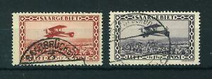 Germany Saargebiet 1928 Airmail full set of stamps. Used. Sg 126-127