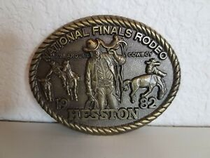 1982 National Finals Rodeo Hesston Belt Buckle Brass Eighth Edition Cowboy