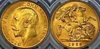 1925 King George V - Gold Sovereign Half, South Africa: PCGS-MS64.
