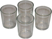 4 Quality Votive Glass Containers. Perfect fit for votive candles