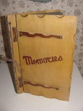 "Wood Scrap Book Hinged Cover Memories Photo Album Leather Strap 17"" x 11 1/2"""
