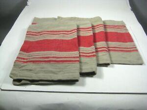 Set of 4 Fete Placemats Farmhouse Red Striped 100% Cotton Table Decor