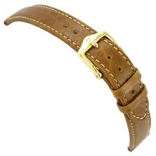 14mm Hirsch Ladies Camel Grain Tan Genuine Leather Flat Stitched Watch Band