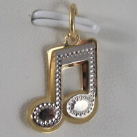 SOLID 18K WHITE & YELLOW GOLD MUSICAL NOTE PENDANT CHARM PENTAGRAM MADE IN ITALY
