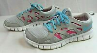 NIKE Girls Athletic Lightweight Slip-on + Laces Gray/Pink Shoes Size 7 Youth