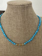 """LeslieA. Designs Sleeping Beauty Turquoise Bead Necklace With 18K YG Beads 20.5"""""""