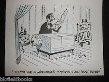 """CLIFFORD C LEWIS """"CLEW"""" Original Pen & Ink Cartoon - Magician Corset/Saw #203"""