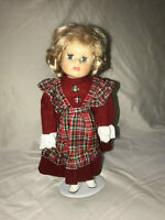 """PORCELIAN DOLL WITH STAND  BLONDE HAIR BLUE EYES LASHES 14"""""""