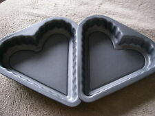 Heart Shaped Sandwich Pans Twin Pack 8 inch Teflon ®™ Non Stick Cake Tins by