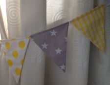 Empavesado Cortina Vivero Tie-backs ~ Gris/Plateado y Amarillo-Estrellas, cuadros, manchas