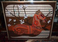 LARGE HORSE TAPESTRIE AND NEEDLE POINT WITH LUCITE FRAMEDSIGNED BY:FAYEK