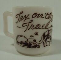 Vtg  Antique Hazel Atlas Tex on the Trail Cowboy Milk Coffee Cup Glass Mugs 6 oz