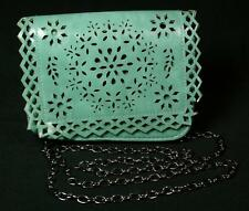 Vintage Small Turquoise Leather Open-Work Purse