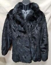 Komitor Faux Fur Womens Black Coat Jacket Size XL Reversible
