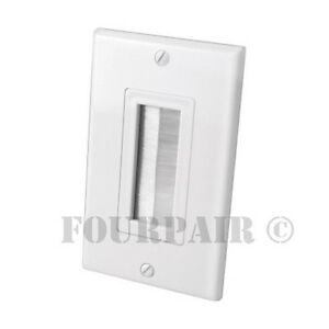 Brush Style Bristle Opening Decor Bulk Cable Wire Wall Plate Face Plate - White