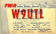 Cartolina QSL Radioamatori Aviazione TWA Trans World Airline 1956 USA Europe Afr