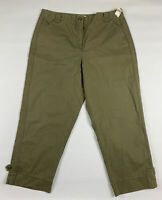 Talbots Womens Chino Pants 16 Military Green Tapered Stretch Zip Fly New