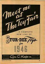 1946 PAPER AD Stur Dee Toy Detroit Athletic Glider Click Gun Madison Hockey Game