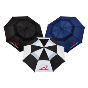 "3x WOODWORM 60"" PREMIUM DOUBLE CANOPY GOLF UMBRELLAS"