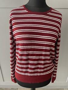Jaeger Burgundy & White Striped Round Neck Jumper Wool Mix Size Medium