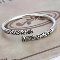 Men Jewelry Thai Silver Vintage Women Bangle Handmade Bracelet Open Cuff