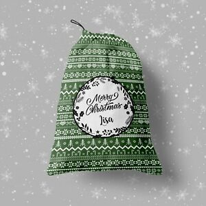 Xmas pattern - Children's Christmas Eve Treat Bag - Custom Photo Gift