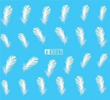 Nail Art Stickers Water Decals Transfers White Mono Design Feathers (B037)
