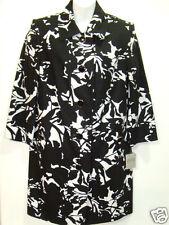 NWT Kasper Black Ivory A Summer Place Linen Blend Mid Jacket Coat Lined NEW Sz 6