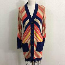 Diane von Furstenberg Casta Cardigan Sz P Orange Blue Chevron Stripe