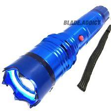 BLUE Metal POLICE Stun Gun 260 Million Volt Rechargeable LED Flashlight + Case-S