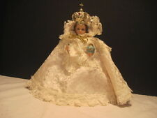 "1966 VINTAGE 9"" ITALY CHALKWARE INFANT OF PRAGUE RELIGIOUS STATUE METAL CROWN"