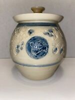 Vintage Stoneware Blue & Cream Pottery Jar / Canister w/Lid Signed SJ Pottery