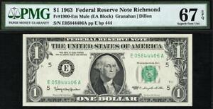1963 1900-Em $1 Richmond *MULE Federal Reserve Note FRN • PMG 67 EPQ