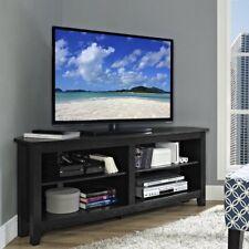 Vintage Corner TV Stand Cabinet Furniture Black Wooden Storage Unit 4 Shelves