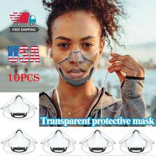 10Pcs Durable Clear Mask-3D Lip Reading Transparent Face Shield Pc Mask Usa