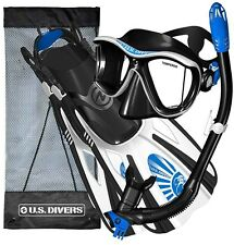 US Divers Adult Snorkel Set White Blue Medium Mask Snorkelling Scuba Diving