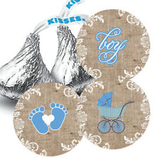 108 Baby Boy Shower Burlap & Lace Hershey Kiss Stickers Favors Blue Carriage