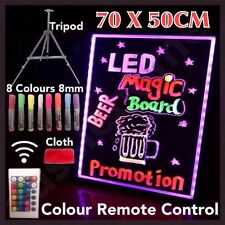 NEW 70x50CM LED WRITING BOARD NEON SIGN TRIPOD SIGNAGE FLUORESCENT LIGHT REMOTE