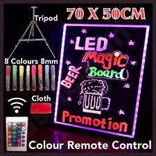 70x50cm LED Writing Board Neon Sign Tripod Signage Fluorescent Light Remote