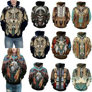 Mens Womens 3D Floral Indian Feather Wolf Hooded Couple Sweatshirt Jumper Tops