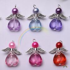 5Pcs Mixed Glass Acrylic Dancing Angel Wings Flowers Charms Pendants 23x29mm